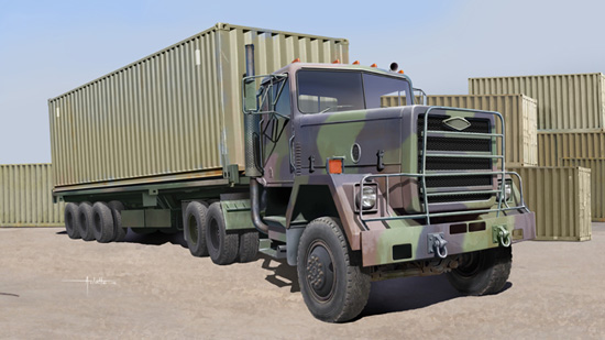 M915 Tractor with M872 Flatbed trailer & 40FT Container