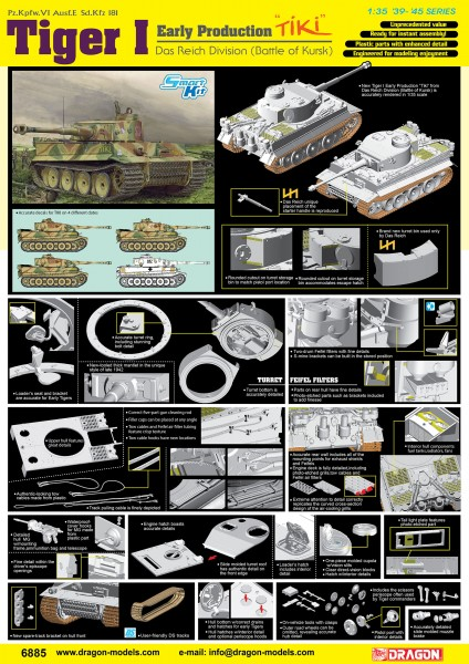 """Tiger I Early Production """"TiKi"""" Das Reich Division (Battle of Kharkov) (SMART KIT)"""